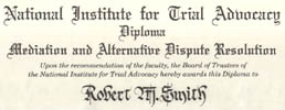Diploma, National Institute for Trial Advocacy