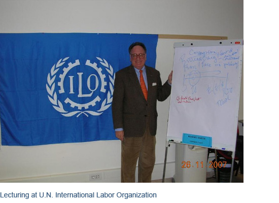 Lecturing at U.N. International Labor Organization